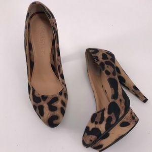 Colin Stuart Platform Leopard almond toe pumps